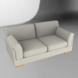 Calanda Medium Leather Sofa, Cream