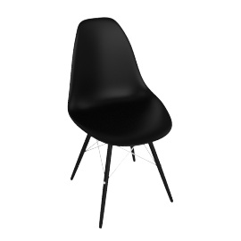 Eames DSW Side Chair, Black with Black Base