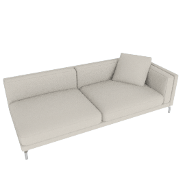 Como One-Arm Sofa in Leather, Right, Gesso