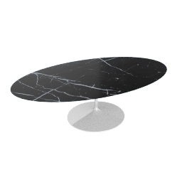 Saarinen Oval Dining Table 96'', Coated Marble 1 - White.Nero
