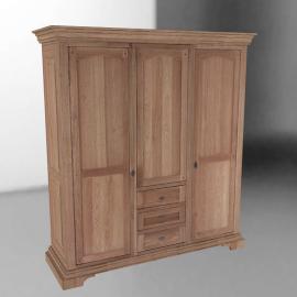 Oak Provencal Triple Wardrobe
