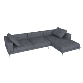 Como Sectional Chaise in Fabric, Right, Pebble Weave, Pumice