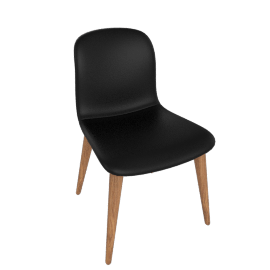 Bacco Chair, Tubular Steel legs, Nero Leather