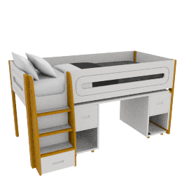 Curve Mid-Sleeper and Desk 2 doors, White