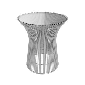 Platner Side Table, Glass Top, Nickel Base