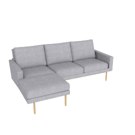 Raleigh Sectional with Left Chaise, Oak, Pebble Weave Fog