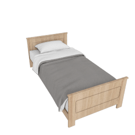 Deco Single Bed, Solid Oak