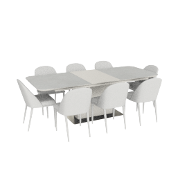 Gaia 1+8 Dining Set- L.Cream