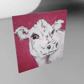 Cow On Red, Dark Canvas Rim, 110 x 110cm