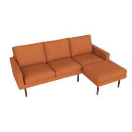Raleigh Sectional with Right Chaise, Walnut, Ducale Wool Persimmon