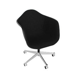 Eames Upholstered Task Chair, Black with Hopsak Black