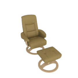 Casper Leather Chair and Footstool, Off White