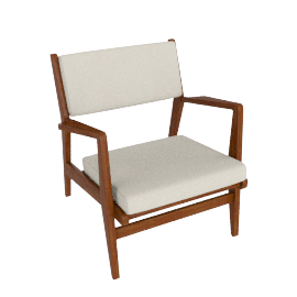 Jens Chair, Walnut, Cotton - Cream