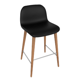 Bacco Counter Stool, Nero Leather w Walnut Leg