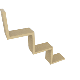 W Shaped Wall Shelf, Natural