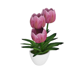 Tulip with Wall Mounted Pot 34 cms, Pink