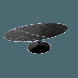 Saarinen Oval Dining Table 96'', Coated Marble 1 - Black.Nero