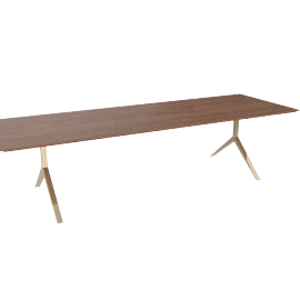 Overton Table 10-12 Seater Walnut Solid Brass