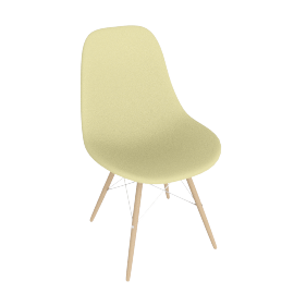 Eames Molded Plastic Dowel-Leg Side Chair (DSW), Pale Yellow with Chrome Base and Maple Leg