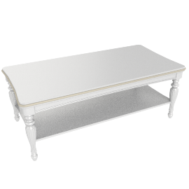 Ariel Coffee Table, Pearl White / Gold