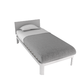 Min Bed w/ Plexi Headboard-Twin - White.Clear