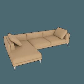 Como Sectional Left Chaise, Kalahari Leather - Sand