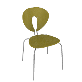 Globus Chair in Wood with Chrome Frame - Chartreuse