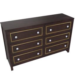 Indiana 6 Drwr Dresser-D.Brn/Ant. Gold