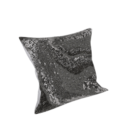 Exotic Embellished Filled Cushion - 45x45 cms, Silver