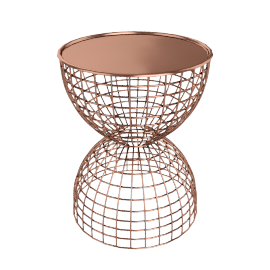 TABLE DIABOLA WIRE COPPER/COPPER TRAY