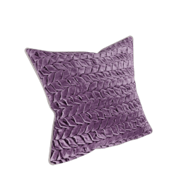 Velvet smocked Filled Cushion - 45x45 cms, Purple