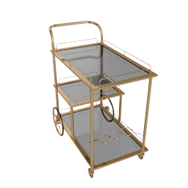 Casa 3, Tier Serving Trolley, Gold