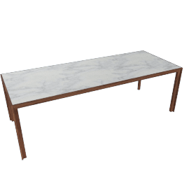 Doubleframe Table 92 x 36, Carrara/Walnut
