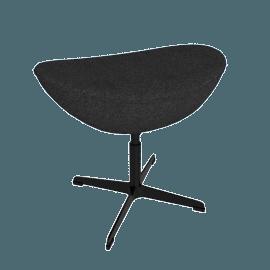 Egg Footstool in Basel Fabric, black