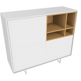 Aura Tall Cabinet, White.Oak