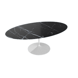 Saarinen Oval Dining Table 78'', Coated Marble 1 - White.Nero
