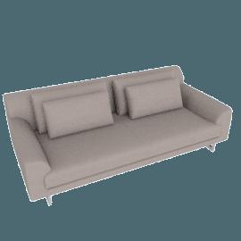 Lecco 93'' Sofa, Kalahari Leather - Grey with Aluminum Base