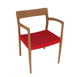 Moller Model 57 Armchair in Walnut with Hallingdal Seat - Walnut.Red