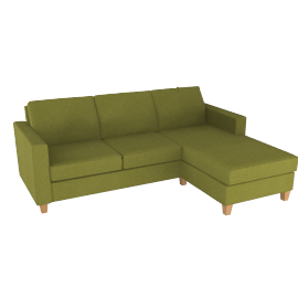 Portia RHF Chaise End Sofa, Olive / Dark Leg