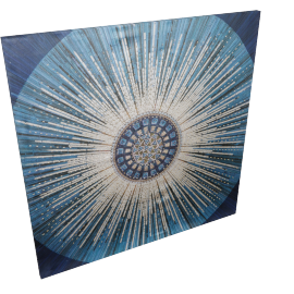 Ornate Round Canvas Print with Sequin 100x2.8x100 cms