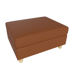 Lispenard Ottoman, Kalahari Leather - Canyon with Oak Leg