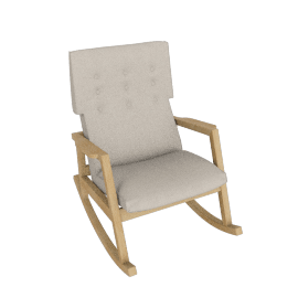 Risom Rocker, Frame -Oak, Fabric -Pebble Weave: Buff