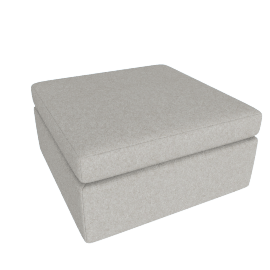 Bevel Ottoman, Noble Fabric Heathered Grey with Ebony Leg
