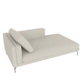 Como Chaise in Leather, Left, Gesso