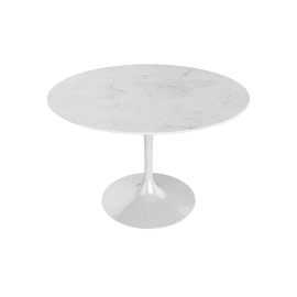 Saarinen Round Dining Table 42'' - Carrara Top - White Base