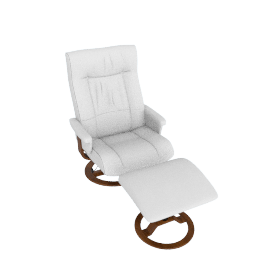 Pluto Leather Chair and Footstool, Vanilla