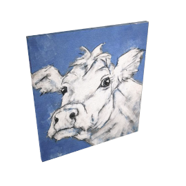 Cow On Blue, Light Canvas Rim, 110 x 110cm