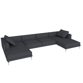 Como Double-Chaise Sectional, Soft Weave Pepper