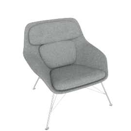 Striad Chair, Low Back with Wire base, Noble Heathered Grey/White Shell with Chrome base