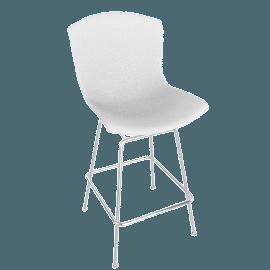 Bertoia Plastic Barstool, White Shell, Chrome Frame